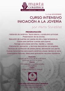Curso intensivo de iniciación a la joyería impartido por Marta Cerámica los días 1 y 2 de noviembre.